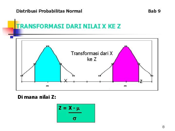 Distribusi Probabilitas Normal Bab 9 TRANSFORMASI DARI NILAI X KE Z Transformasi dari X