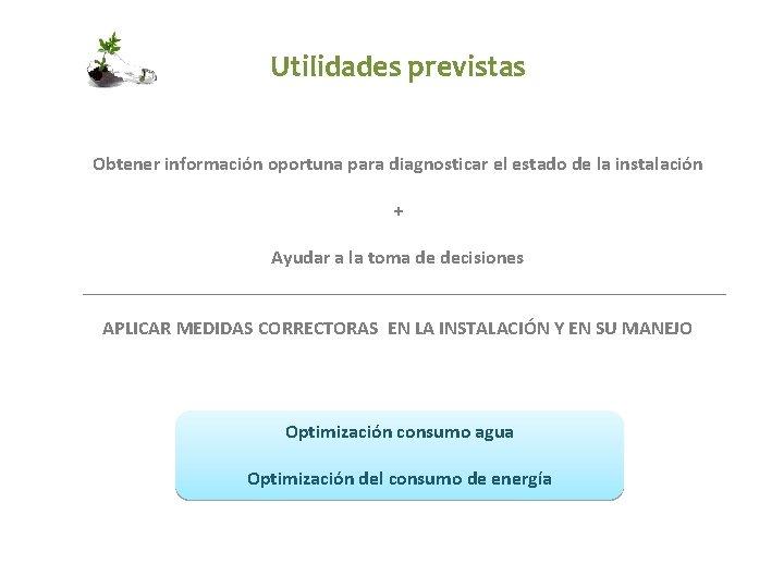 Utilidades previstas Obtener información oportuna para diagnosticar el estado de la instalación + Ayudar