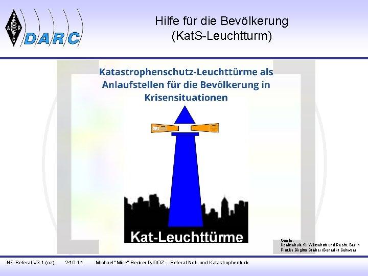 Hilfe für die Bevölkerung (Kat. S-Leuchtturm) Quelle: Hochschule für Wirtschaft und Recht, Berlin Prof.