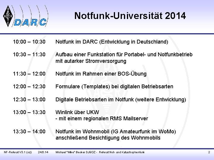 Notfunk-Universität 2014 10: 00 – 10: 30 Notfunk im DARC (Entwicklung in Deutschland) 10: