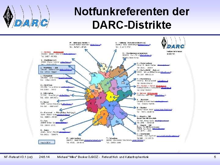 "Notfunkreferenten der DARC-Distrikte NF-Referat V 3. 1 (oz) 24. 6. 14 Michael ""Mike"" Becker"