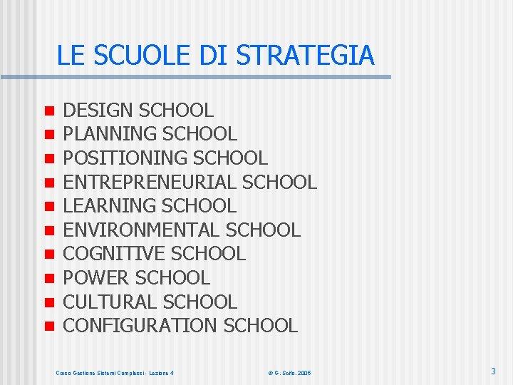 LE SCUOLE DI STRATEGIA n n n n n DESIGN SCHOOL PLANNING SCHOOL POSITIONING