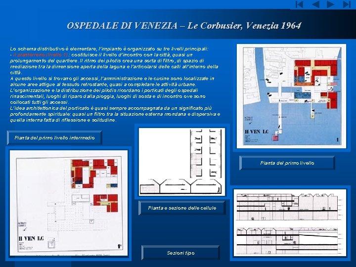 OSPEDALE DI VENEZIA – Le Corbusier, Venezia 1964 Lo schema distributivo è elementare, l'impianto