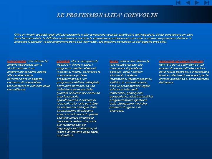 LE PROFESSIONALITA' COINVOLTE Oltre ai vincoli suddetti legati al funzionamento e alla concezione spaziale-distributiva