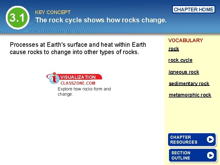 3. 1 KEY CONCEPT CHAPTER HOME The rock cycle shows how rocks change. Processes