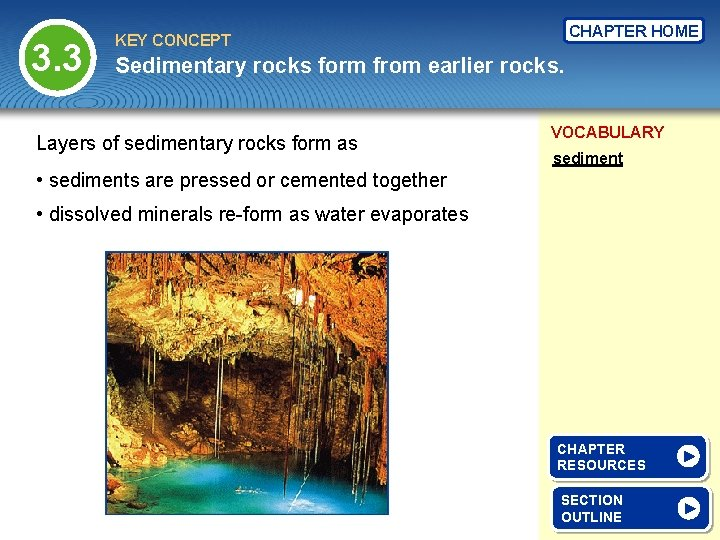 3. 3 CHAPTER HOME KEY CONCEPT Sedimentary rocks form from earlier rocks. Layers of
