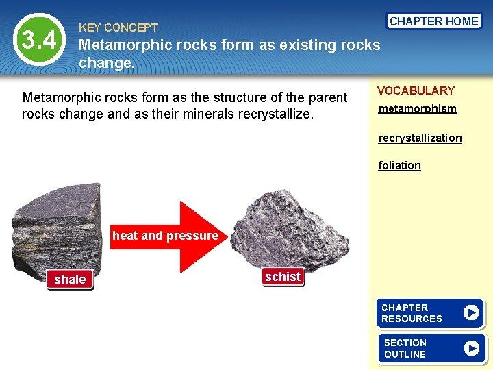 3. 4 CHAPTER HOME KEY CONCEPT Metamorphic rocks form as existing rocks change. Metamorphic