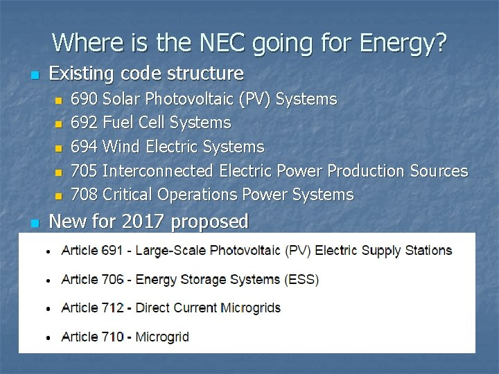 Where is the NEC going for Energy? n Existing code structure n n n