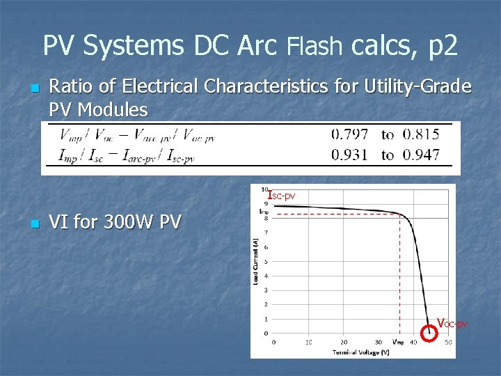 PV Systems DC Arc Flash calcs, p 2 n Ratio of Electrical Characteristics for