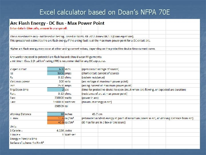 Excel calculator based on Doan's NFPA 70 E