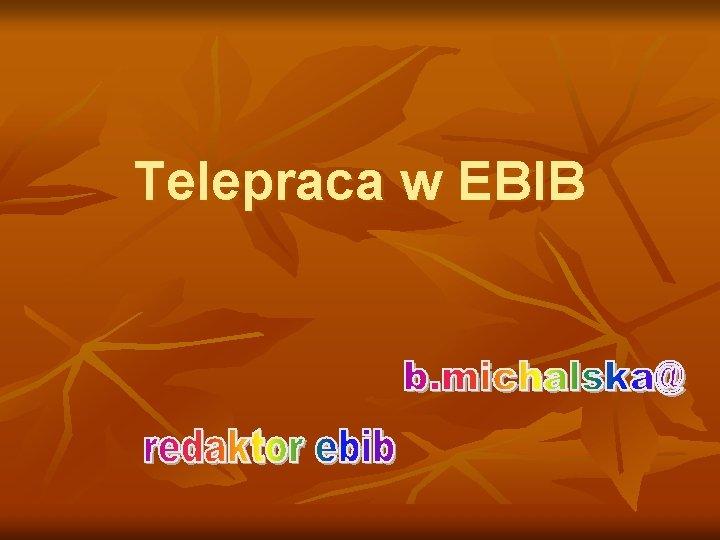 Telepraca w EBIB