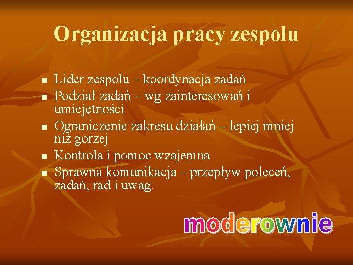 Organizacja pracy zespołu n n n Lider zespołu – koordynacja zadań Podział zadań –