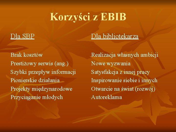 Korzyści z EBIB Dla SBP Dla bibliotekarza Brak kosztów Prestiżowy serwis (ang. ) Szybki