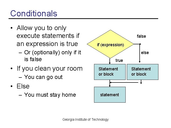 Conditionals • Allow you to only execute statements if an expression is true false