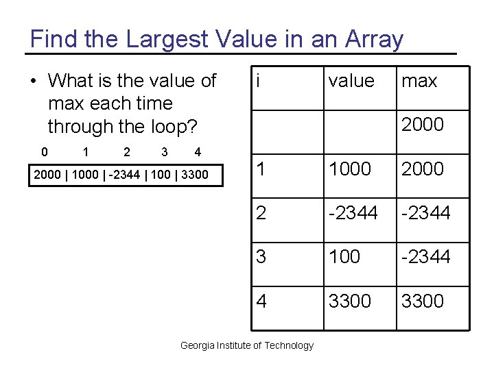 Find the Largest Value in an Array • What is the value of max