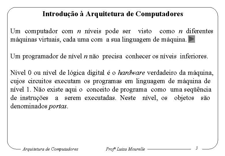 Introdução à Arquitetura de Computadores Um computador com n níveis pode ser visto como