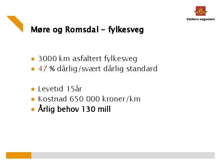 Møre og Romsdal - fylkesveg ● 3000 km asfaltert fylkesveg ● 47 % dårlig/svært