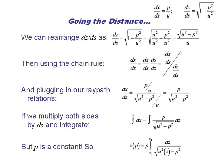 Going the Distance… We can rearrange dz/ds as: Then using the chain rule: And