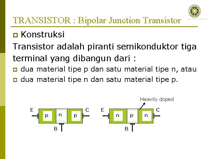 TRANSISTOR : Bipolar Junction Transistor Konstruksi Transistor adalah piranti semikonduktor tiga terminal yang dibangun