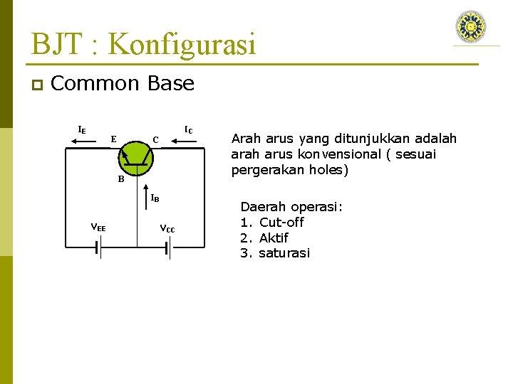 BJT : Konfigurasi p Common Base Arah arus yang ditunjukkan adalah arus konvensional (