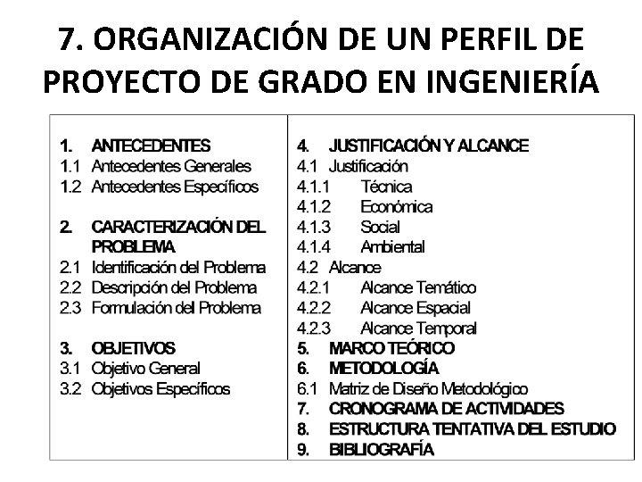 7. ORGANIZACIÓN DE UN PERFIL DE PROYECTO DE GRADO EN INGENIERÍA