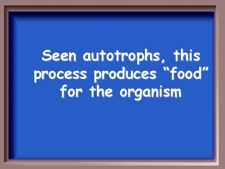 """Seen autotrophs, this process produces """"food"""" for the organism"""
