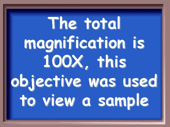 The total magnification is 100 X, this objective was used to view a sample