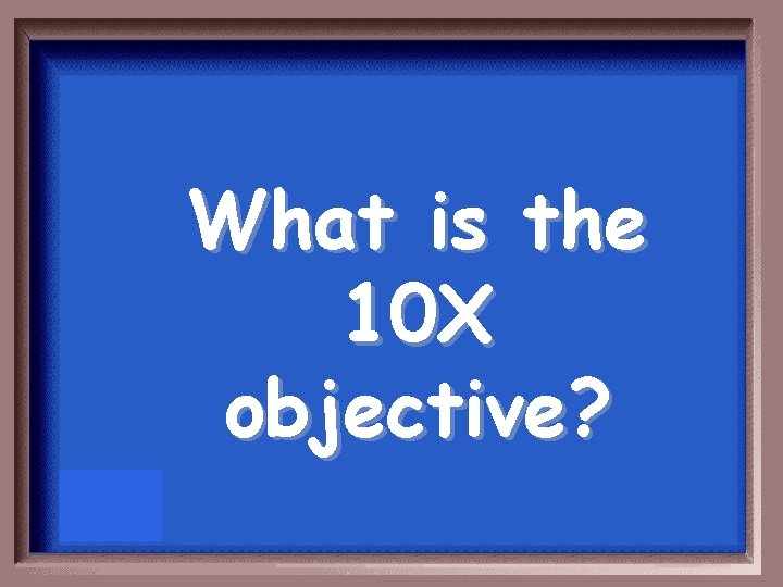 What is the 10 X objective?