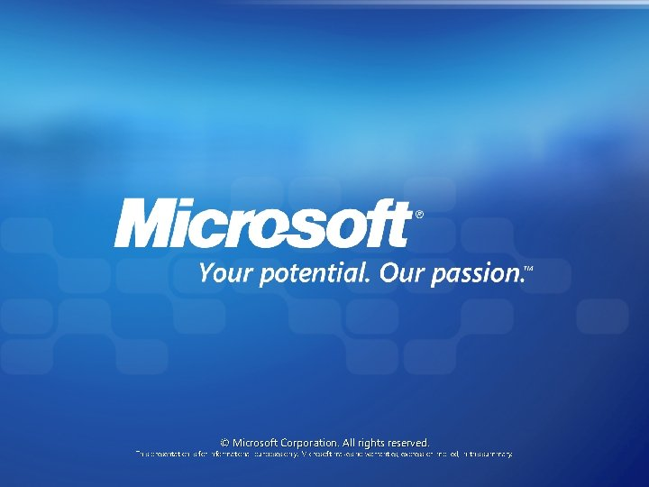 © Microsoft Corporation. All rights reserved. This presentation is for informational purposes only. Microsoft