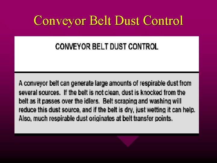 Conveyor Belt Dust Control