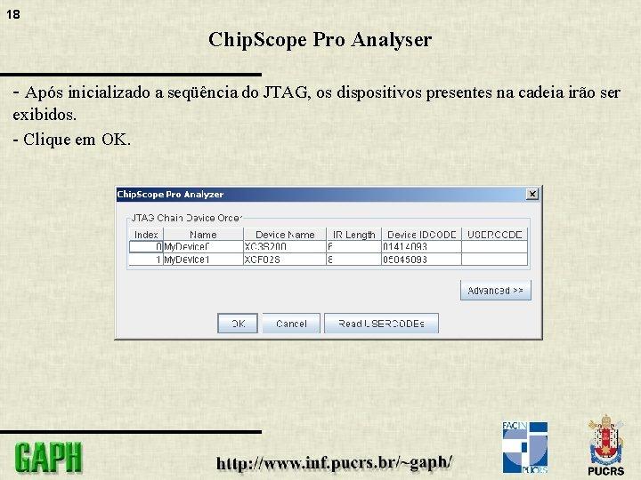 18 Chip. Scope Pro Analyser - Após inicializado a seqüência do JTAG, os dispositivos