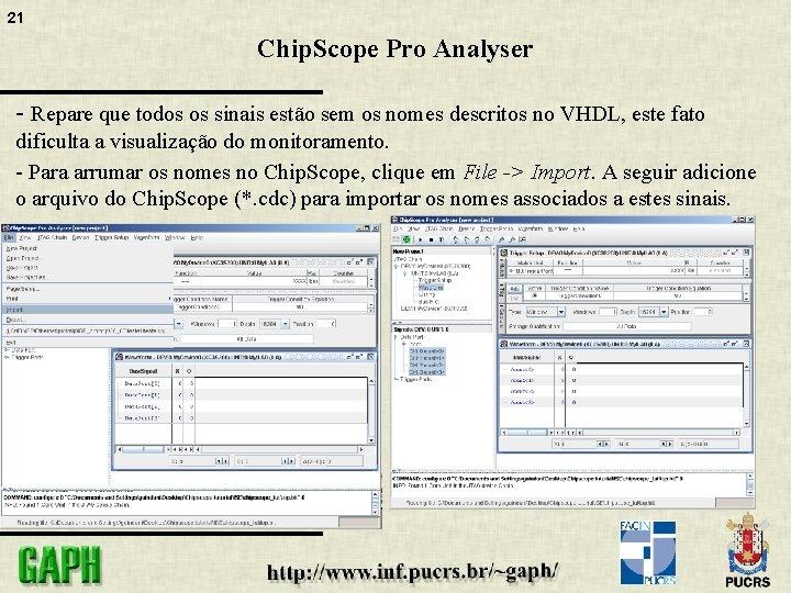 21 Chip. Scope Pro Analyser - Repare que todos os sinais estão sem os