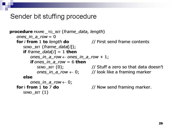 Sender bit stuffing procedure 29