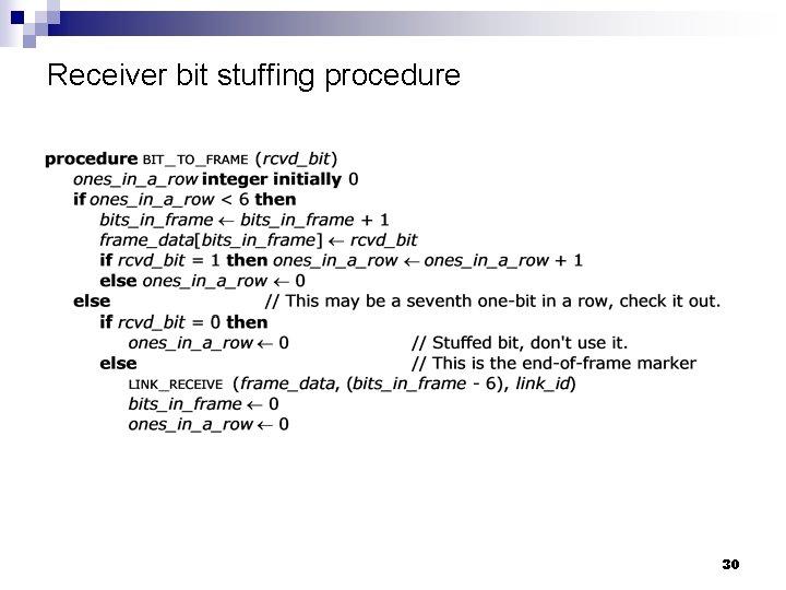 Receiver bit stuffing procedure 30