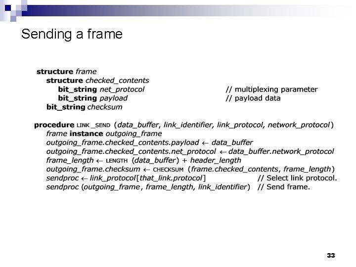 Sending a frame 33