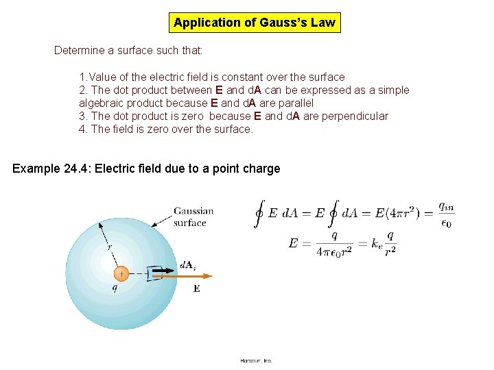 Application of Gauss's Law Determine a surface such that: 1. Value of the electric