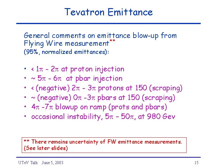 Tevatron Emittance General comments on emittance blow-up from Flying Wire measurement** (95%, normalized emittances):