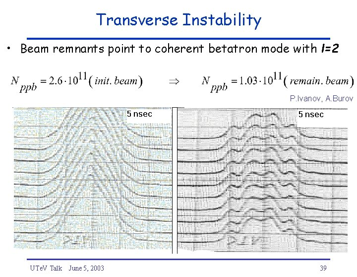 Transverse Instability • Beam remnants point to coherent betatron mode with l=2 P. Ivanov,