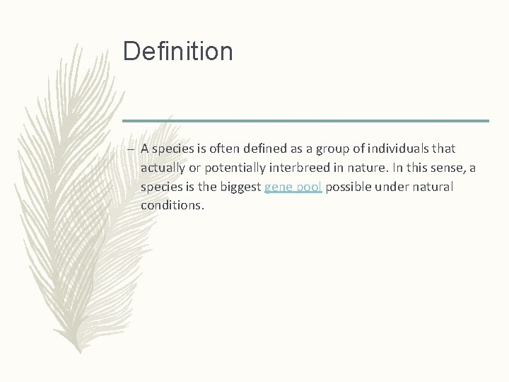 Definition – A species is often defined as a group of individuals that actually
