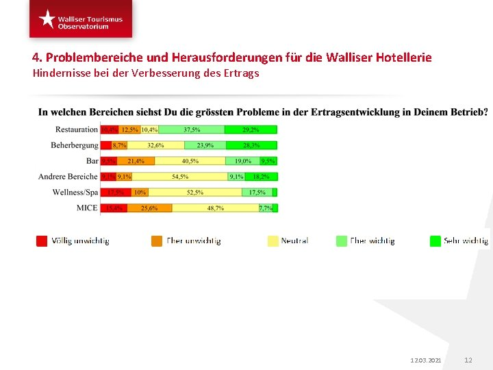 4. Problembereiche und Herausforderungen für die Walliser Hotellerie Hindernisse bei der Verbesserung des Ertrags