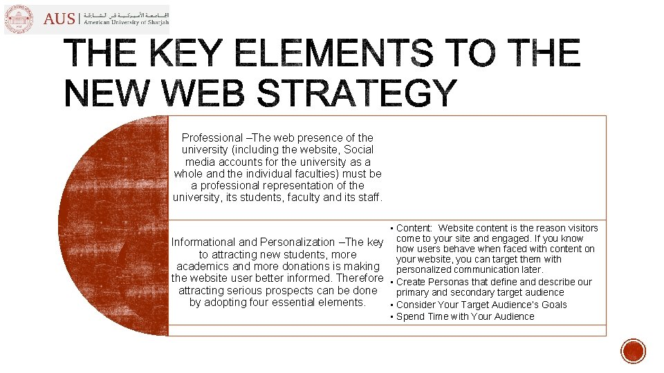 Professional –The web presence of the university (including the website, Social media accounts for