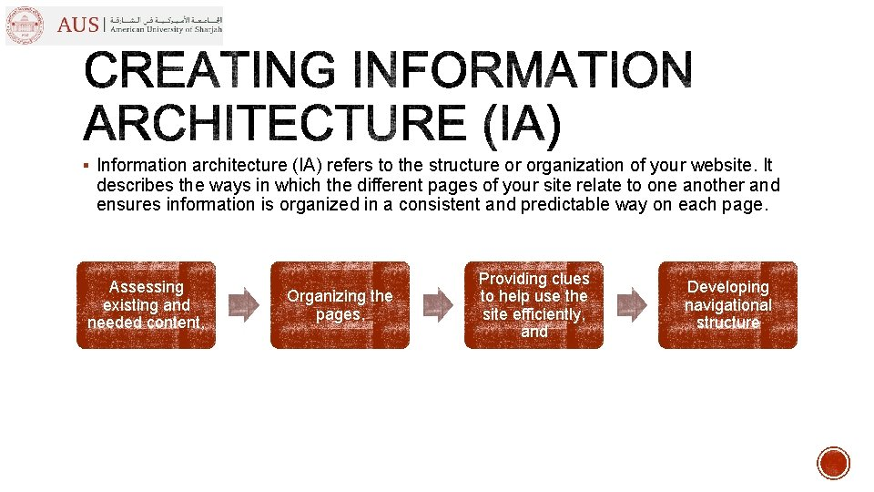 § Information architecture (IA) refers to the structure or organization of your website. It