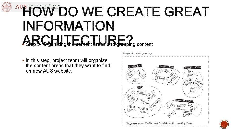 § Step 5. Organizing the content areas and grouping content § In this step,
