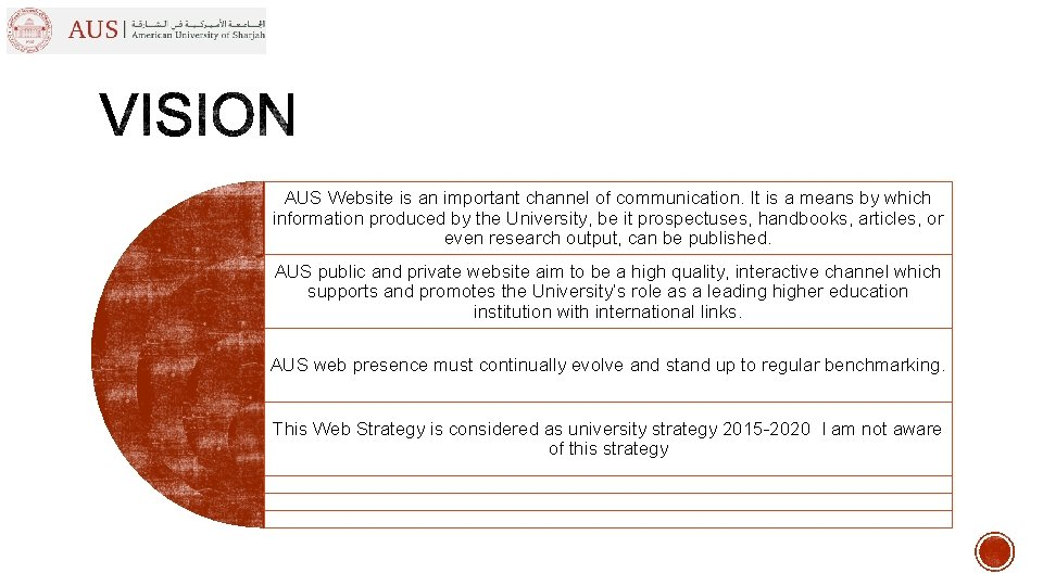 AUS Website is an important channel of communication. It is a means by which