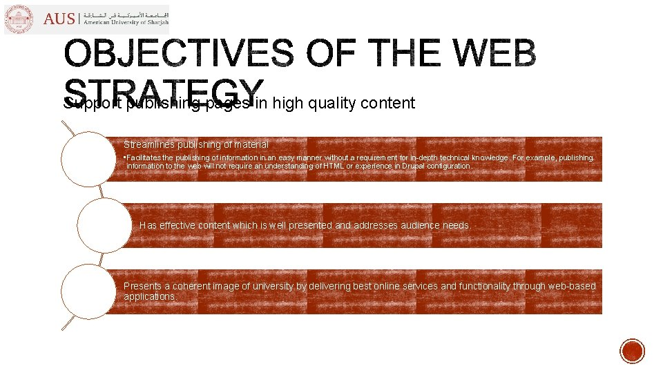 Support publishing pages in high quality content Streamlines publishing of material • Facilitates the