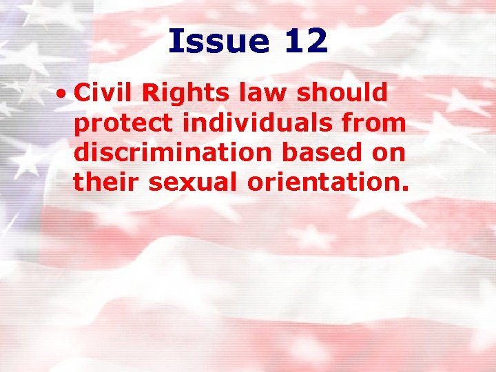 Issue 12 • Civil Rights law should protect individuals from discrimination based on their