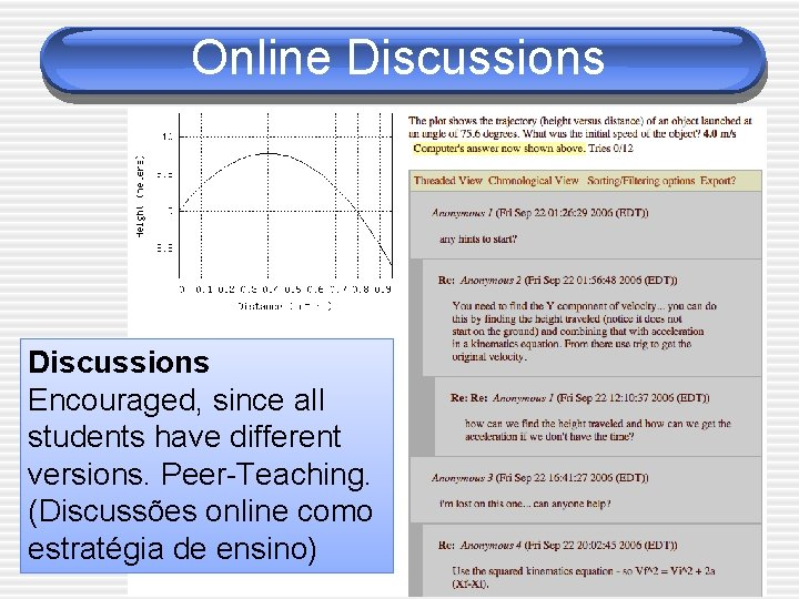 Online Discussions Encouraged, since all students have different versions. Peer-Teaching. (Discussões online como estratégia