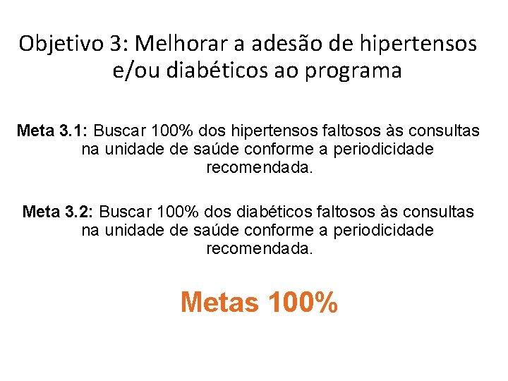 Objetivo 3: Melhorar a adesão de hipertensos e/ou diabéticos ao programa Meta 3. 1: