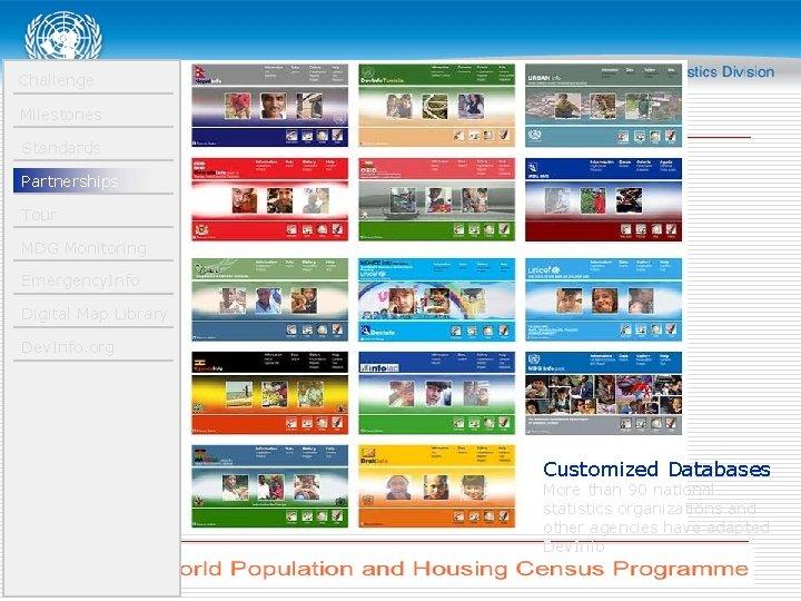 Challenge Milestones Standards Partnerships Tour MDG Monitoring Emergency. Info Digital Map Library Dev. Info.
