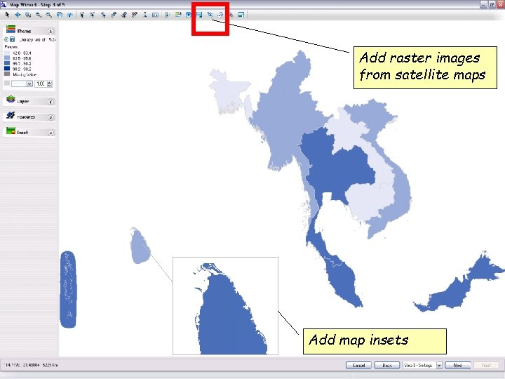 Add raster images from satellite maps Add map insets